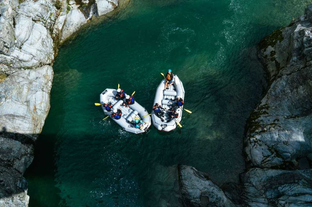Two rafts descend into the Sesia gorges in Valsesia