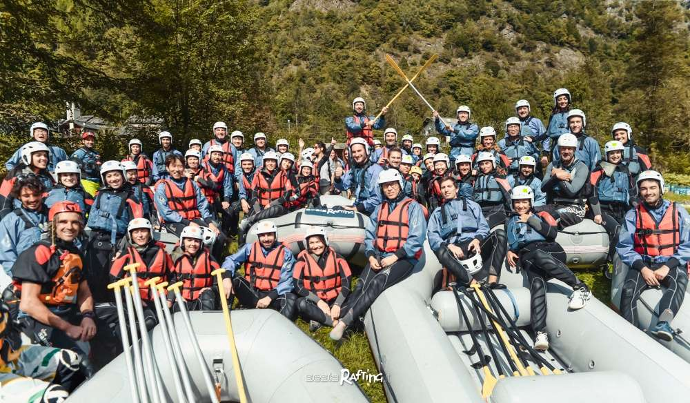 Rafting themed corporate incentive organized by Sesia Rafting asd