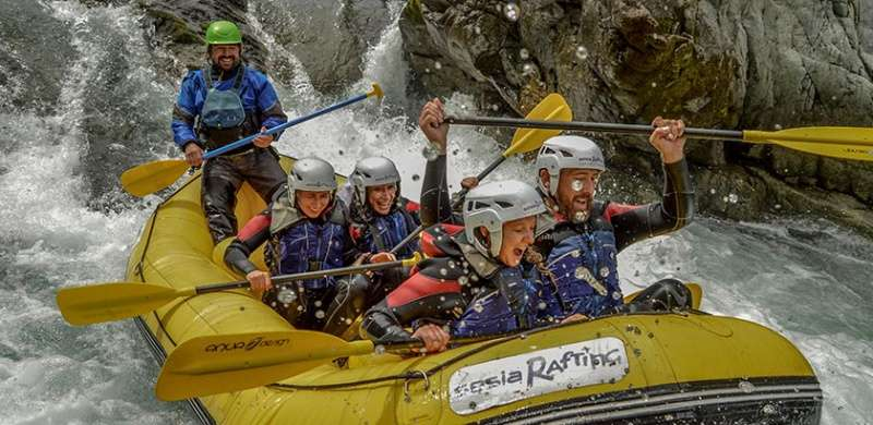Sesia Rafting raft in Sesia Canyon in Valsesia in Piedmont.