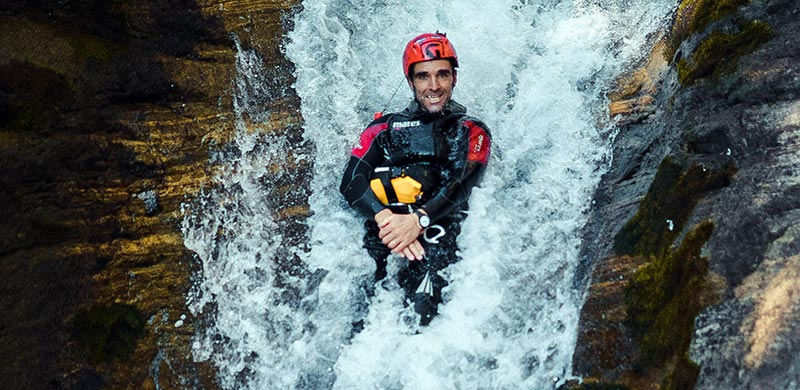 Canyoning in Valsesia. slide on the Sorba Canyon in Rassa.